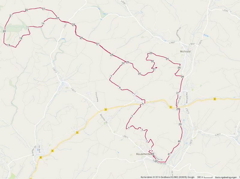 Karte Strecke Burgwald Marathon