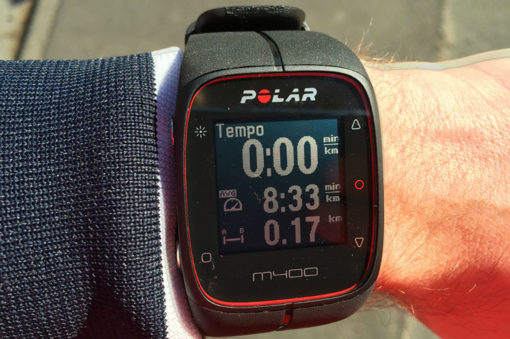 Polar M400 Watchface current pace, average pace, distance