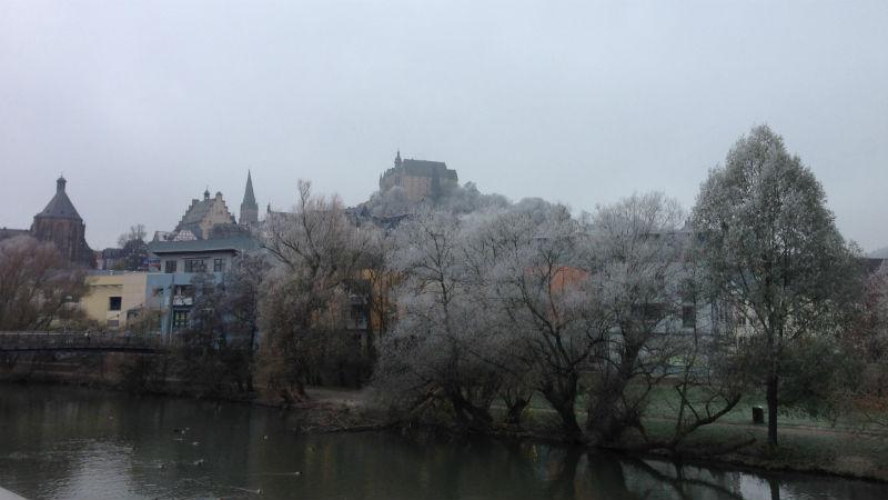 Mensabrücke, Blick aufs Schloss, Marburg