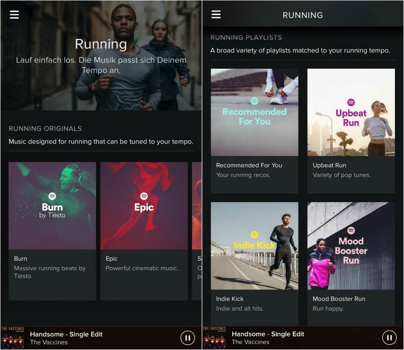 Spotify Running Option App Screenshots