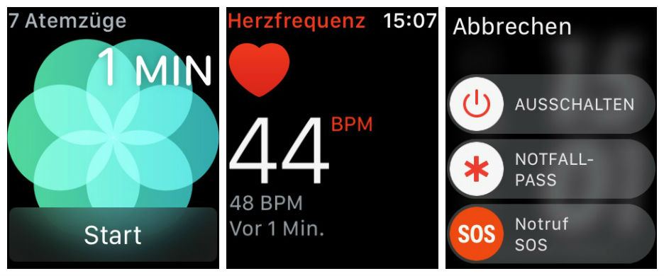 Apple Watch Screenshots, Atmen, Notruf, Pulsmessung