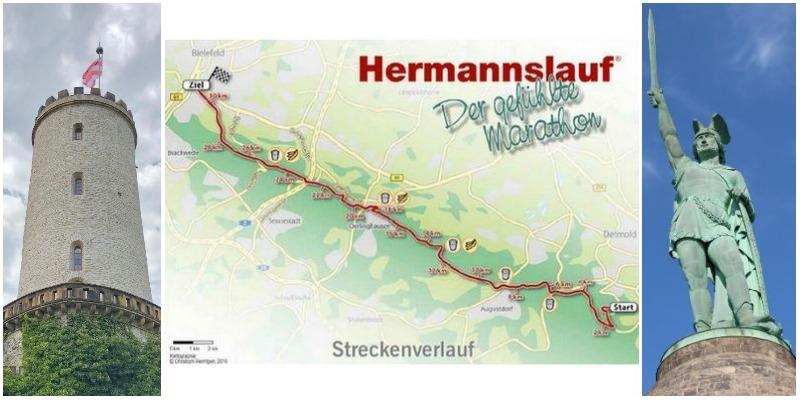 Hermannslauf, Streckenverlauf, Hermannsdenkmal Detmold, Sparrenburg Bielefeld